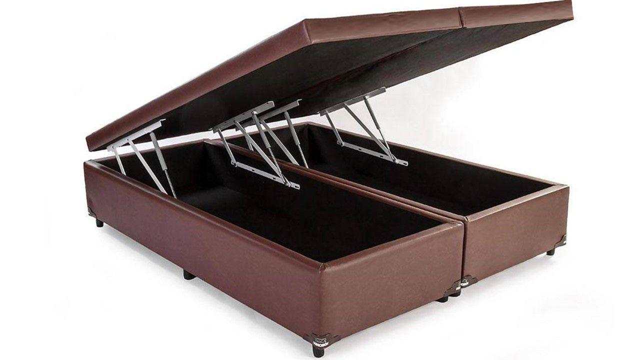 Cama Box Baú Bipartido Queen Premium 1,58 x 1,98 x 0,40 Com 4 Articulações Corino Marrom