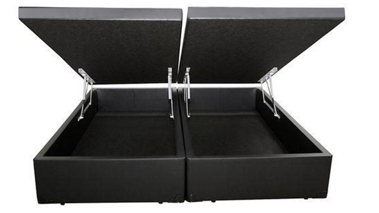 Cama Box Baú Bipartido Queen Premium 1,58 x 1,98 x 0,40 Com 4 Articulações Corino Preto