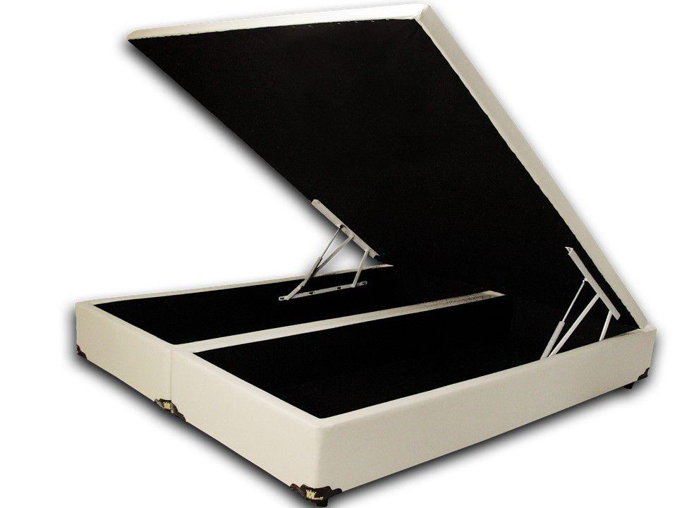 Cama Box Baú Bipartido Queen Premium 1,58 x 1,98 x 0,40 Corino Bege