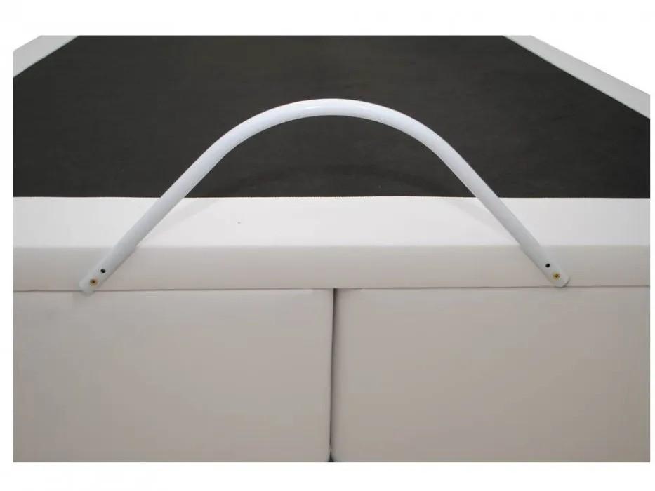 Cama Box Baú Bipartido Queen  1,58 x 1,98 x 0,40 Premium Corino Branco