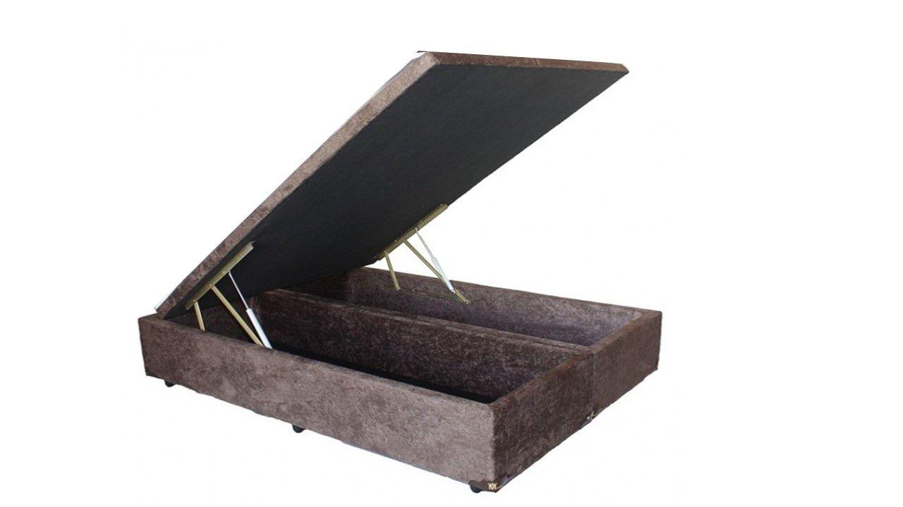 Cama Box Baú Bipartido Queen 1,58 x 1,98 x 0,40 Premium Sued Marrom
