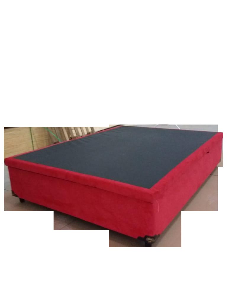 Cama Box Baú Viúva 1,28 x 1,88 x 0,40 Inteiriço Premium Sued Vermelho