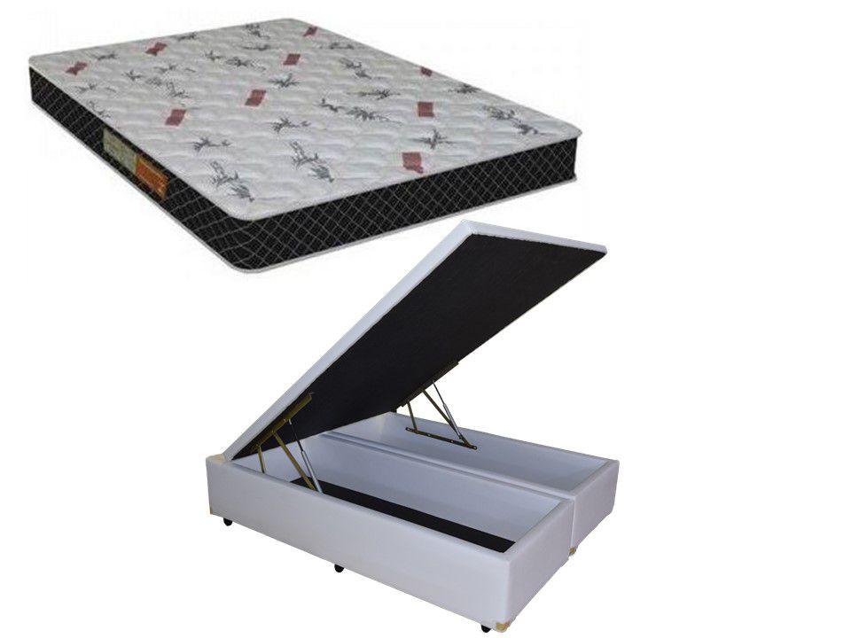 Cama Box Baú Casal 1,38 x 1,88  Bipartido Premium Corino Branco + Colchão Espuma D-20 Firme