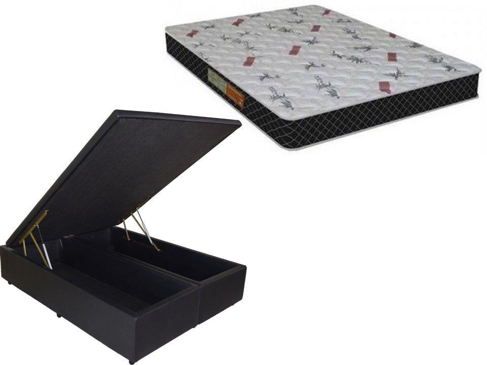 Cama Box Baú Casal 1,38 x 1,88  Bipartido Premium Corino Preto + Colchão Espuma D20 Firme