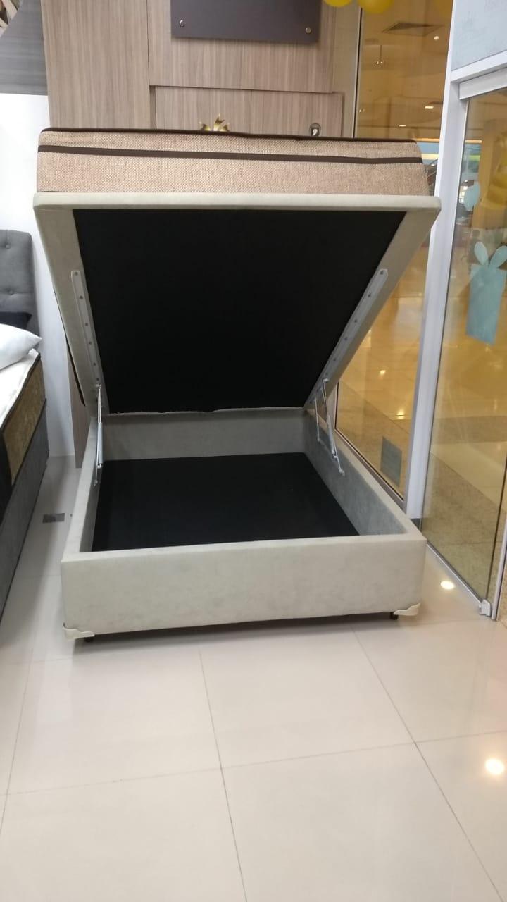 Cama Box Bau Casal 1,38 x 1,88 x 0,40 Inteiriço Sued Bege