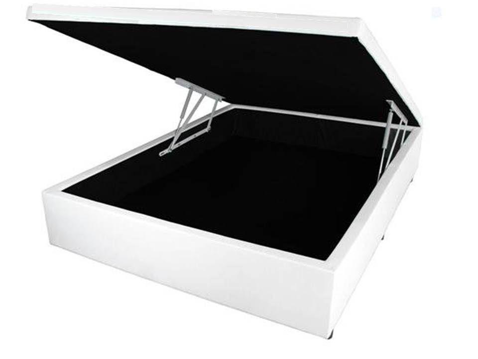 Cama Box Bau Casal 1,38 x 1,88 x 0,40 Inteiriço Premium Corino Branco