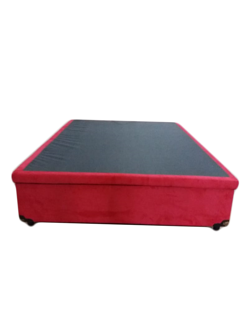 Cama Box Bau Casal 1,38 x 1,88 x 0,40 Inteiriço Premium Sued Vermelho