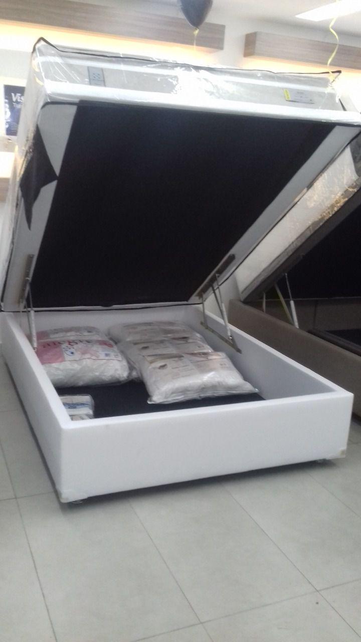 Cama Box Baú Inteiriço Casal 1,38 x 1,88 x 0,42 Gold Corino Branco (30cm)