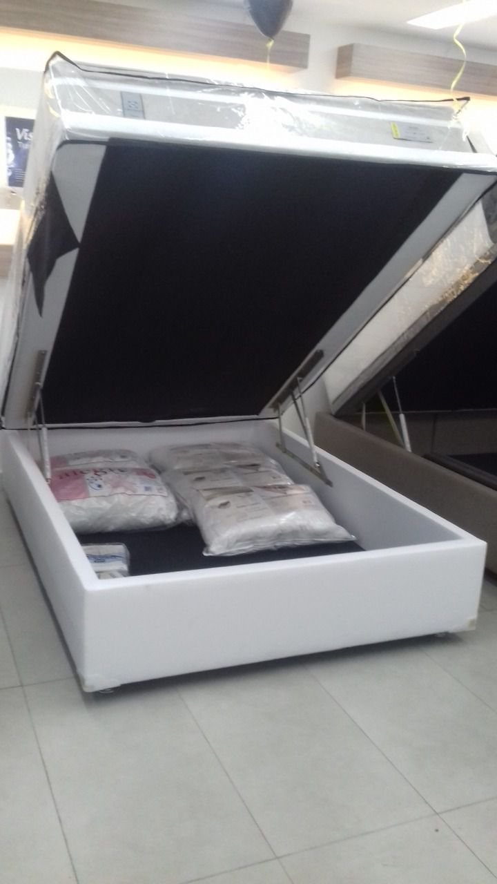 Cama Box Bau Casal 1,38 x 1,88 x 0,42 Inteiriço 30cm Corino Branco ( Gold LJ)
