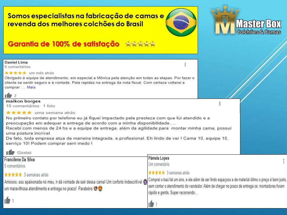 Cama Box Baú Casal Inteiriço Corino Branco 1,38x1,88 Com Colchão Ortopédico Espuma D20 Firme