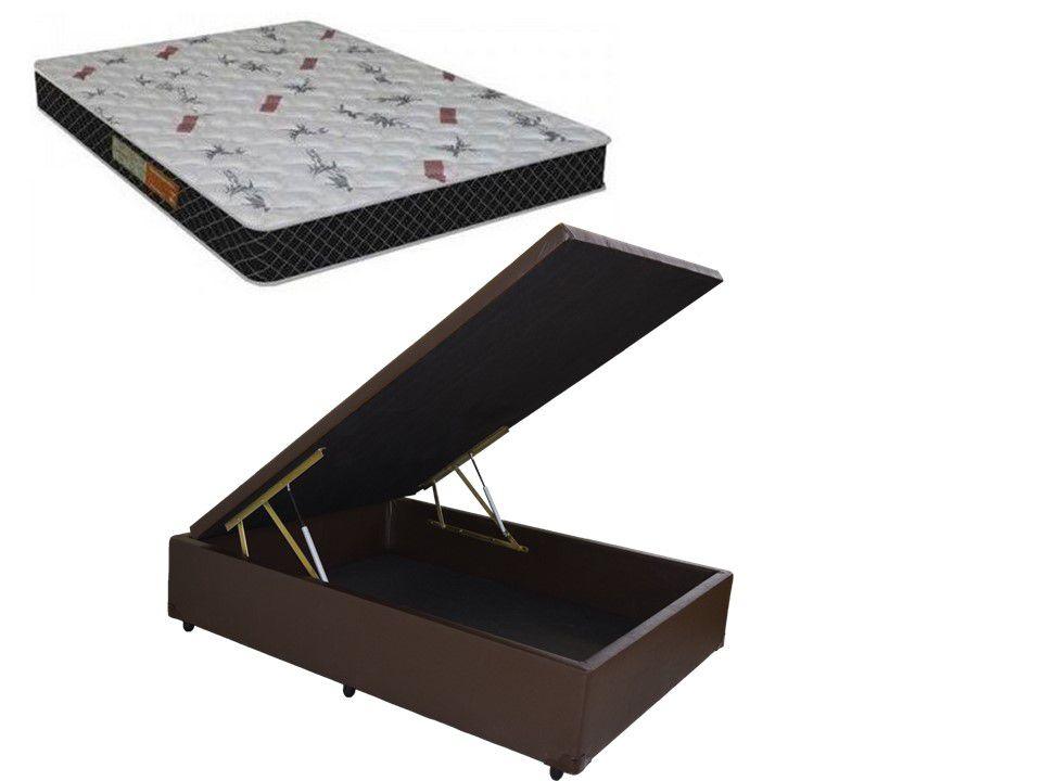 Cama Box Baú Casal Inteiro Corino Marrom 1,38 x 1,88 x 0,40 + Colchão Espuma D-20 Firme