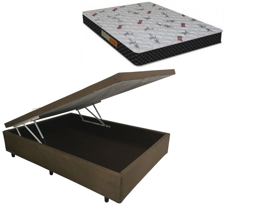Cama Box Baú Casal Inteiriço Sued Marrom 1,38x1,88 Com Colchão Ortopédico Espuma D20 Firme
