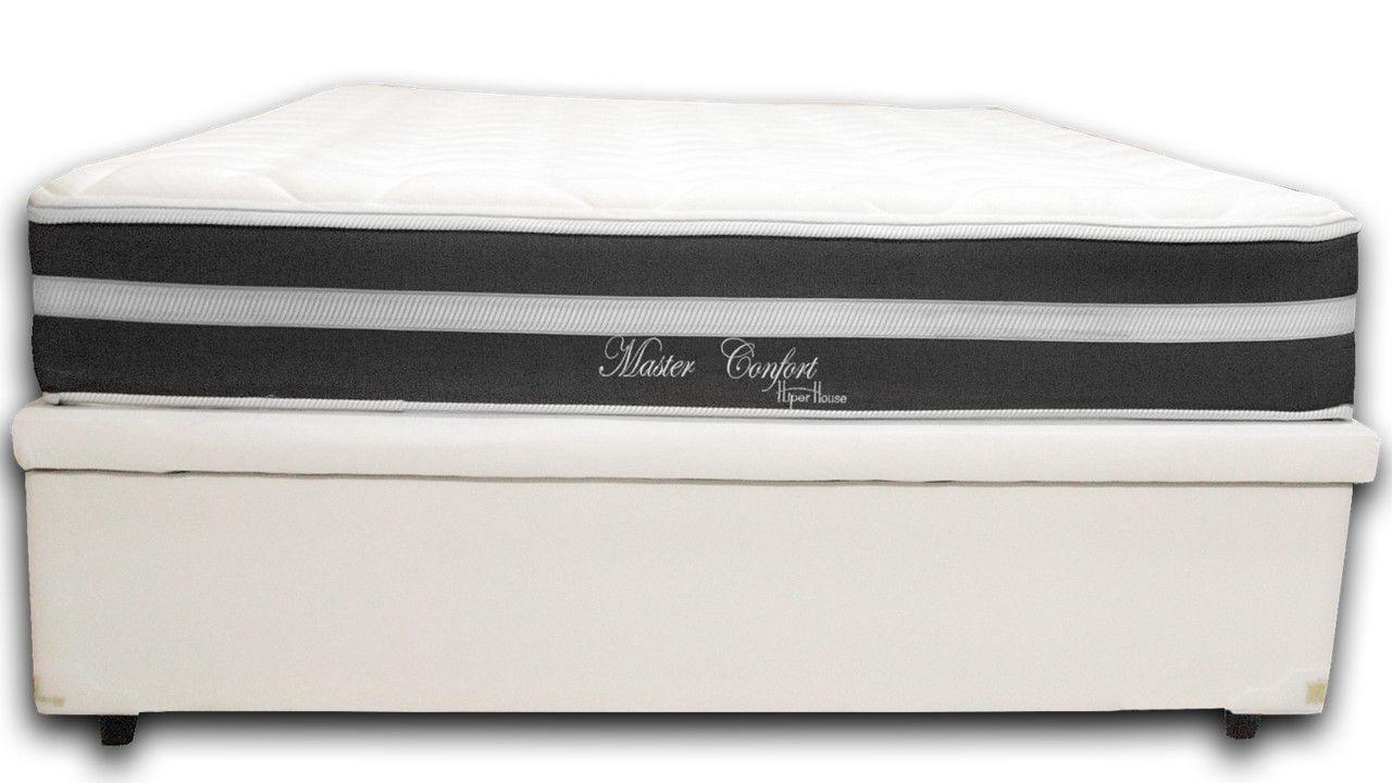Cama Box Baú Casal Premium Branco 1,38x1,88 + Colchão de Molas Luxor Black