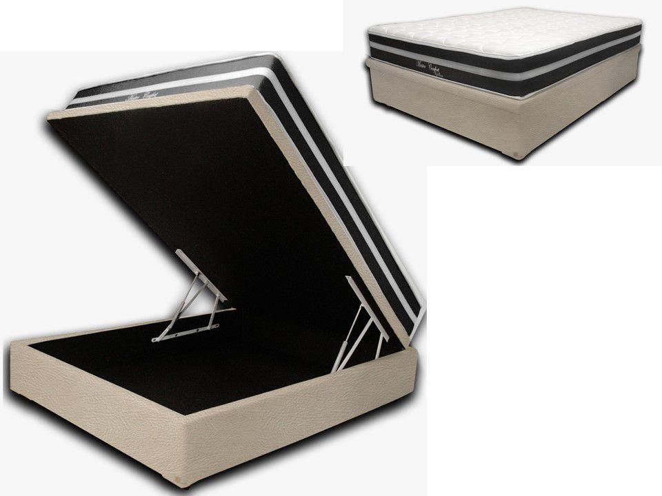 Cama Box Baú Casal Premium Corino Bege 1,38x1,88 + Colchão de Molas Luxor Black