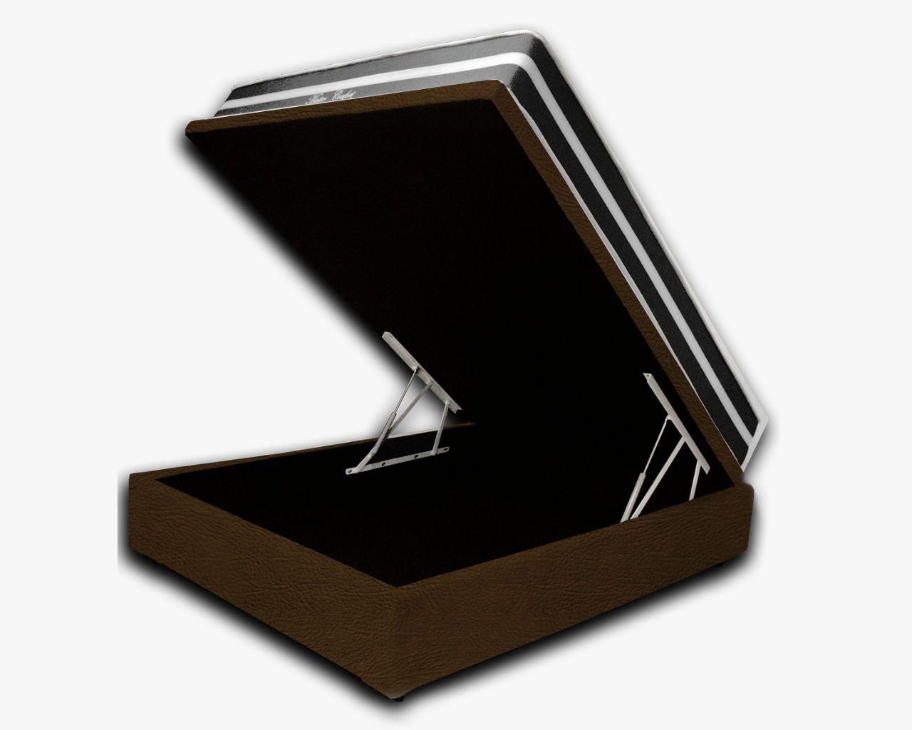 Cama Box Baú Casal Premium Corino Marrom 1,38x1,88 + Colchão de Molas  Confort Black