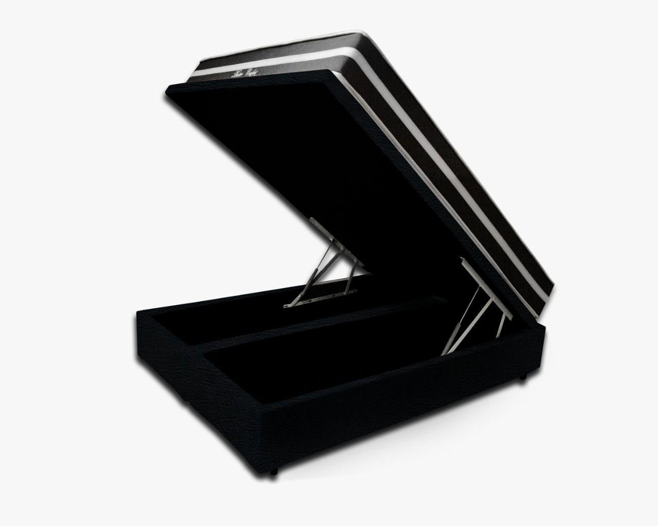 Cama Box Baú Casal Premium Corino Preto 1,38x1,88 + Colchão de Molas Luxor Black