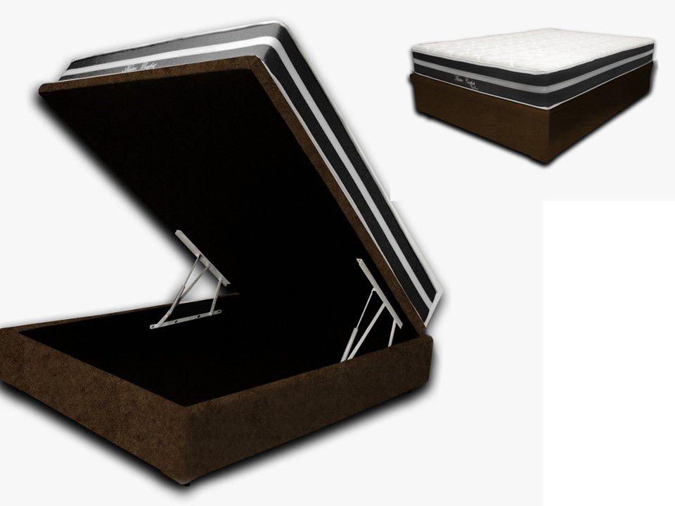 Cama Box Baú Casal Premium Corino Marrom 1,38x1,88 + Colchão de Molas Luxor Black