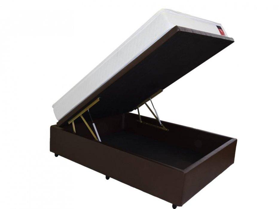 Cama Box Baú Inteiriço Casal Premim 1,38 x 188 x 0,40 Corino Marrom