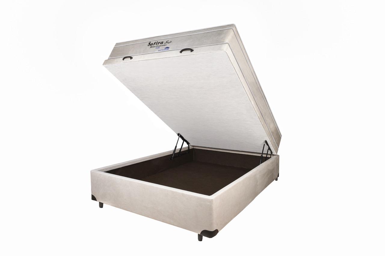 Cama Box Baú Inteiriço Casal Gold 138x188cm Fechada Em Madeira Sued Bege