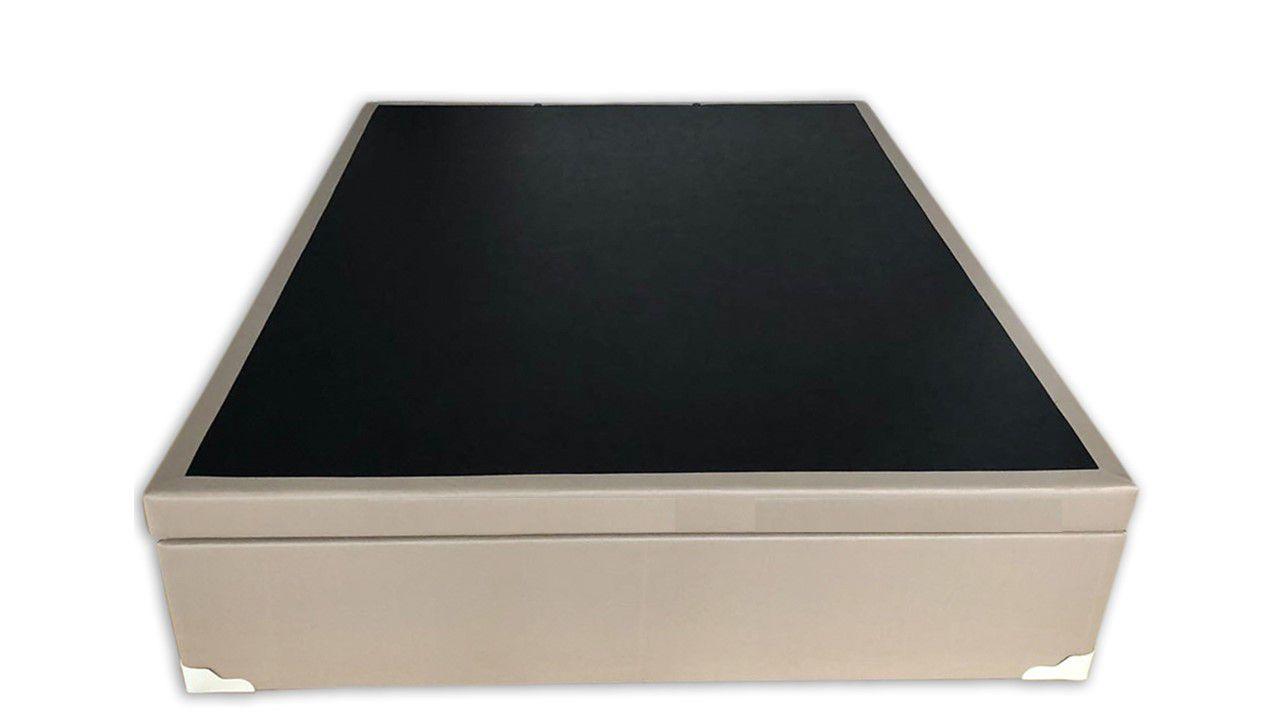 Cama Box Baú Inteiriço Casal Premium 1,38 x 1,88 x 0,40 Corino Bege