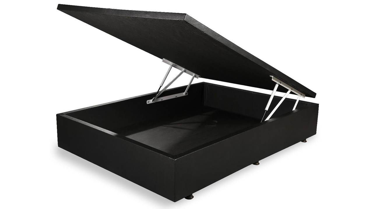 Cama Box Baú Inteiriço Casal Premium 1,38 x 1,88 x 0,40 Corino Preto