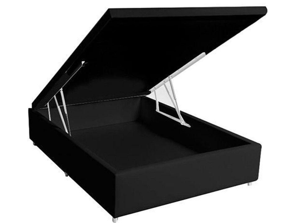 Cama Box Baú Casal Inteiriço Corino Preto 1,38x1,88 Com Colchão Ortopédico Espuma D20 Firme