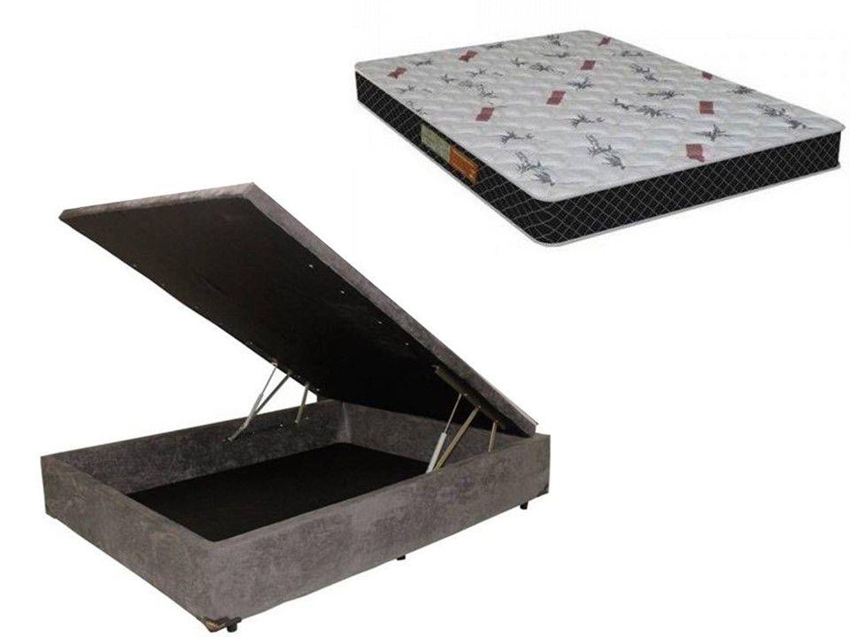 Cama Box Baú Casal Inteiriço Corino Marrom 1,38x1,88 Com Colchão Ortopédico Espuma D20 Firme