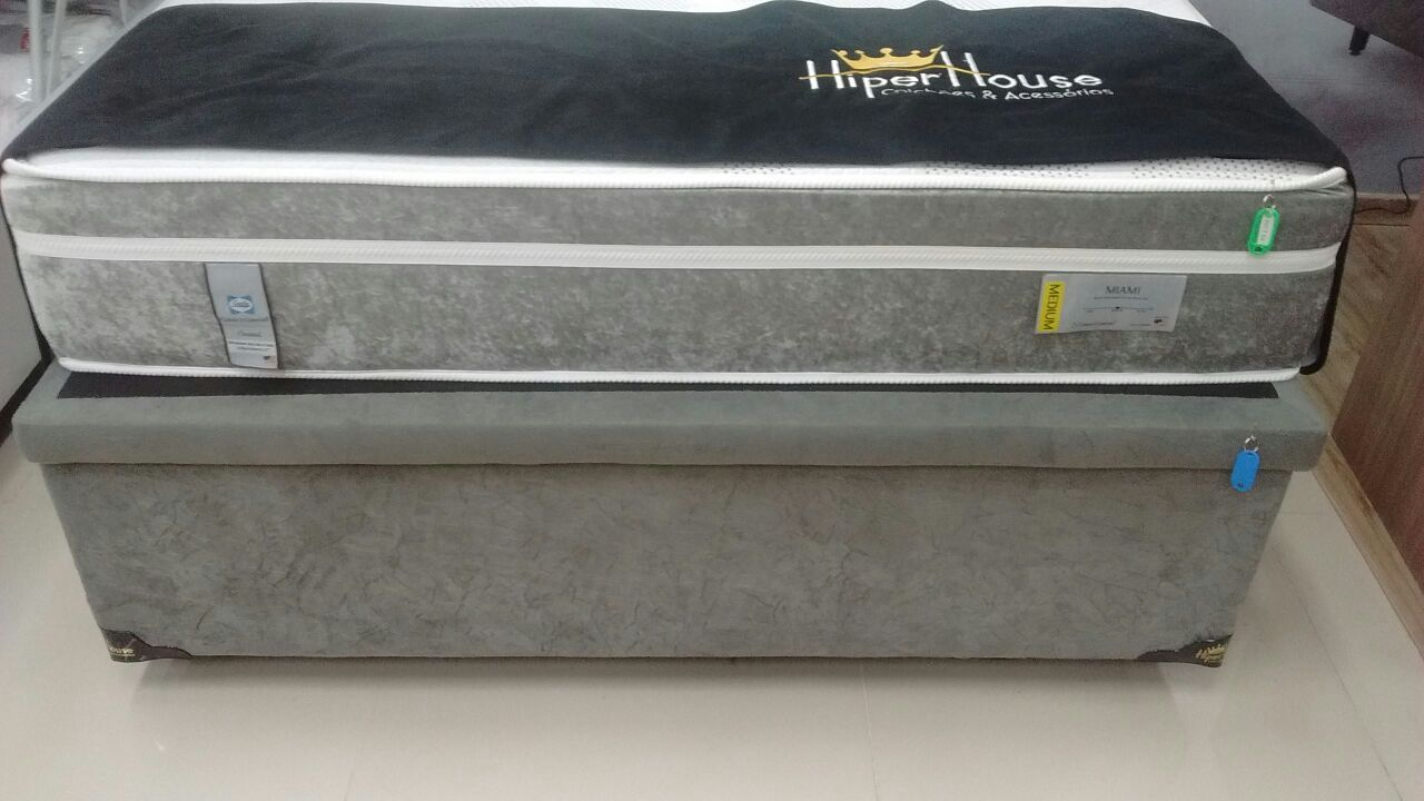 Cama Box Baú Inteiriço Casal 1,38 x 1,88 x 40 Premium Sued Cinza