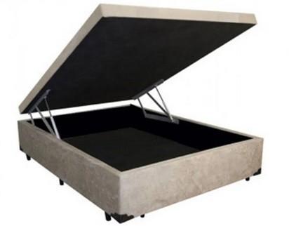 Cama Box Baú Inteiriço Viúva Premium 1,28 x 1,88 x 0,40 Sued Bege