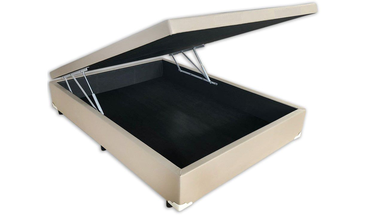 Cama Box Baú Inteiriço Viúva Premium 1,28 x 1,88 x 0,40 Corino Bege