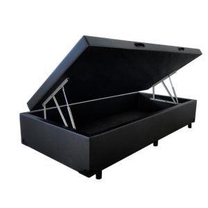Cama Box Baú Solteiro 0,78 x 1,88 X 0,40 Premium Corino Preto