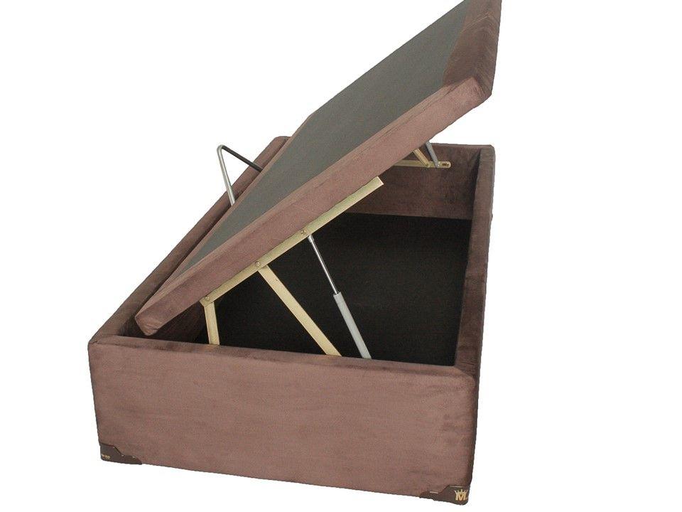 Cama Box Baú Solteiro Medida Especial 0,78 x 1,88 x 0,40 Premium Corino Marrom