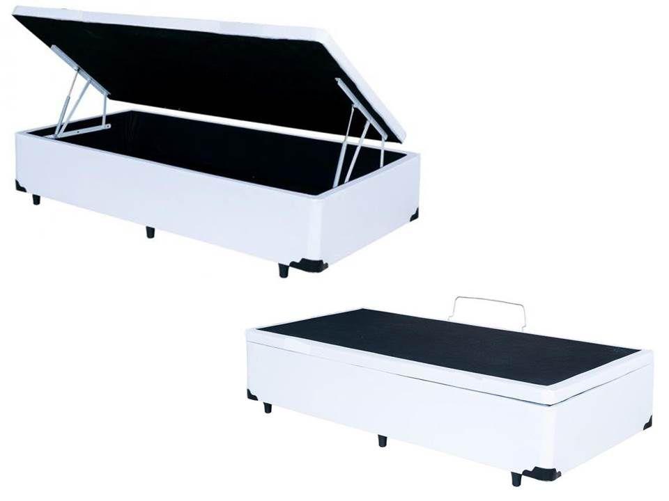 Cama Box Baú Solteiro  0,88 x 1,88 X 0,40 Premium Corino Branco