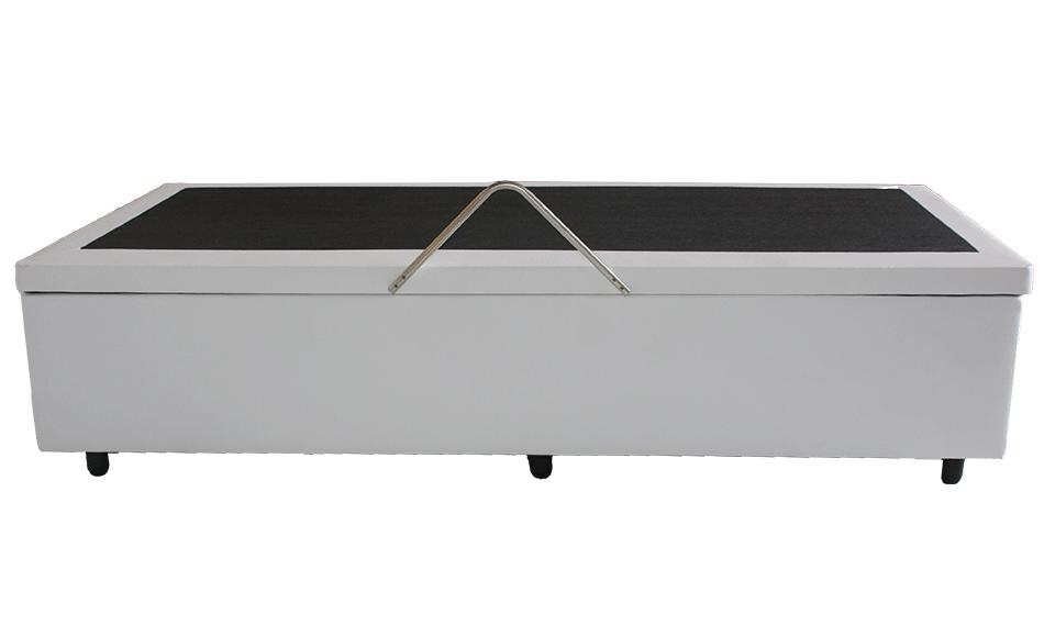 Cama Box Baú Solteiro Gold  0,88 x 1,88 x 0,42  Corino Branco