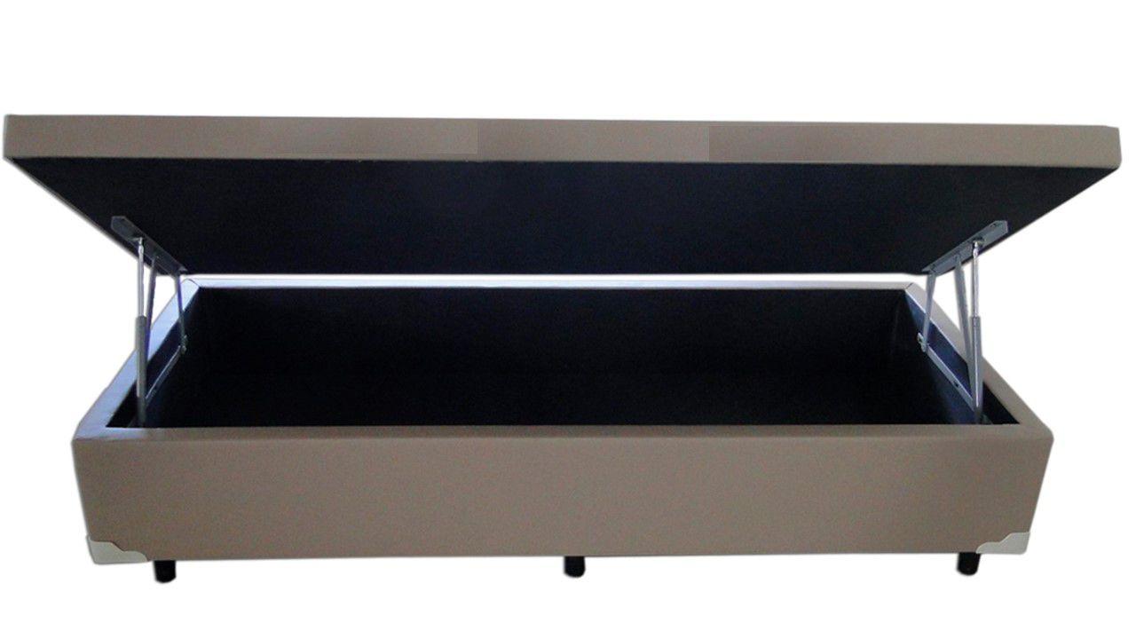 Cama Box Baú Solteiro  0,88 x 1,88 X 0,40 Premium Sued Bege