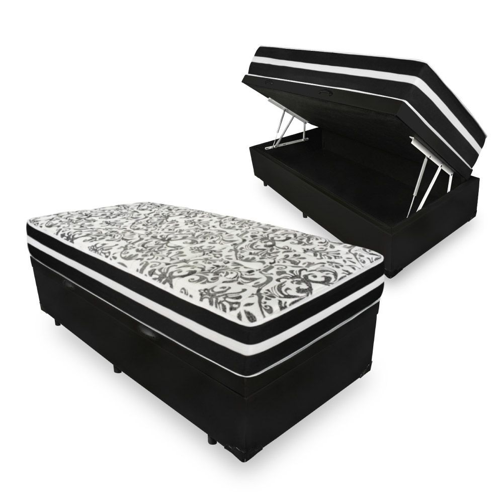 Cama Box Baú Solteiro Premium 078X188 + Colchão De Molas Black 22 cm