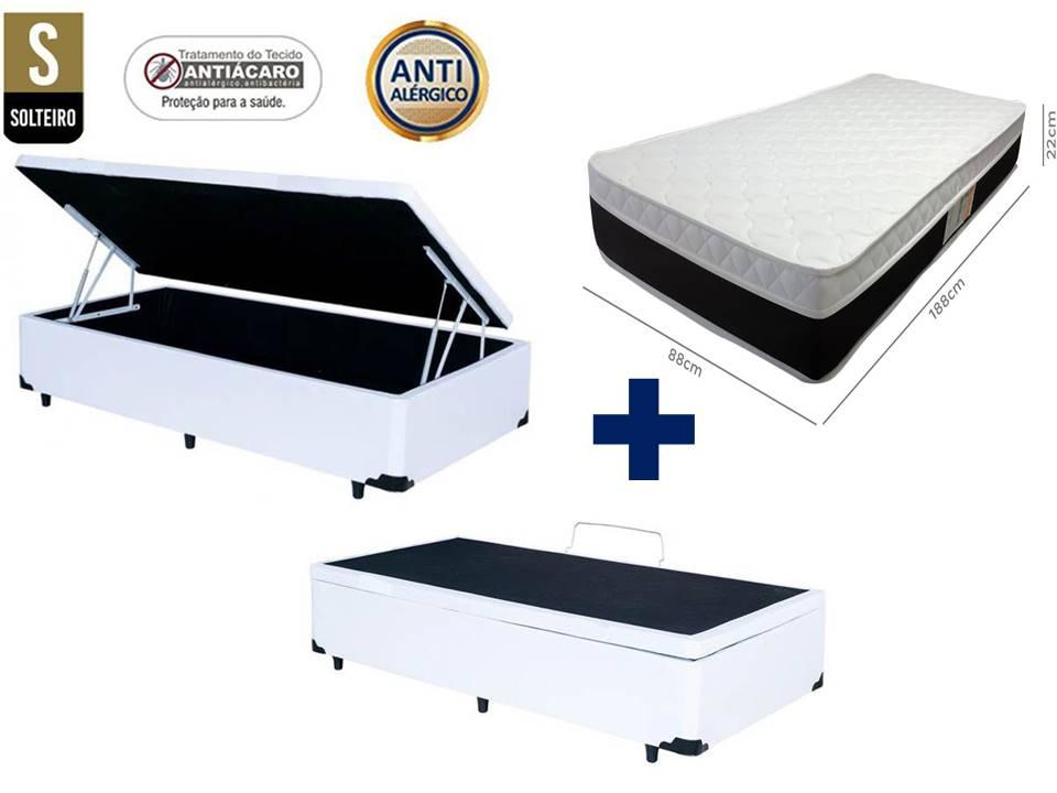 Conjunto Cama Box Baú Solteiro Premium 088X188 Corino Branco+ Colchão De Molas Luxor Plumatex