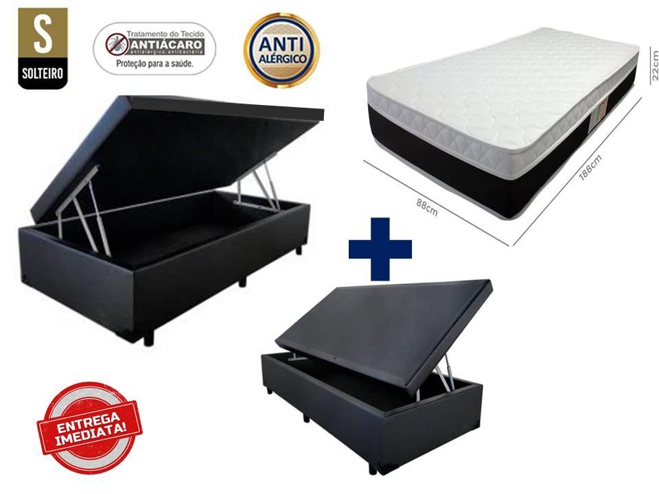 Conjunto Cama Box Baú Solteiro Premium 088X188 Corino Preto + Colchão De Molas Luxor Plumatex