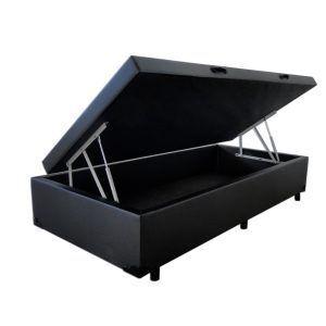 Conjunto Cama Box Baú Solteiro Premium 088X188 Corino Preto + Colchão Espuma Firme Falcon