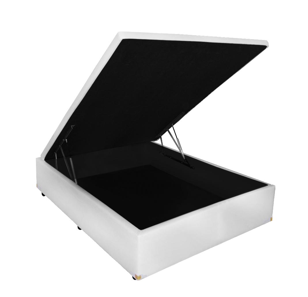 Cama Box Baú Viúva 128X188 Corino Branco + Colchão de Molas Luxor Black Plumatex