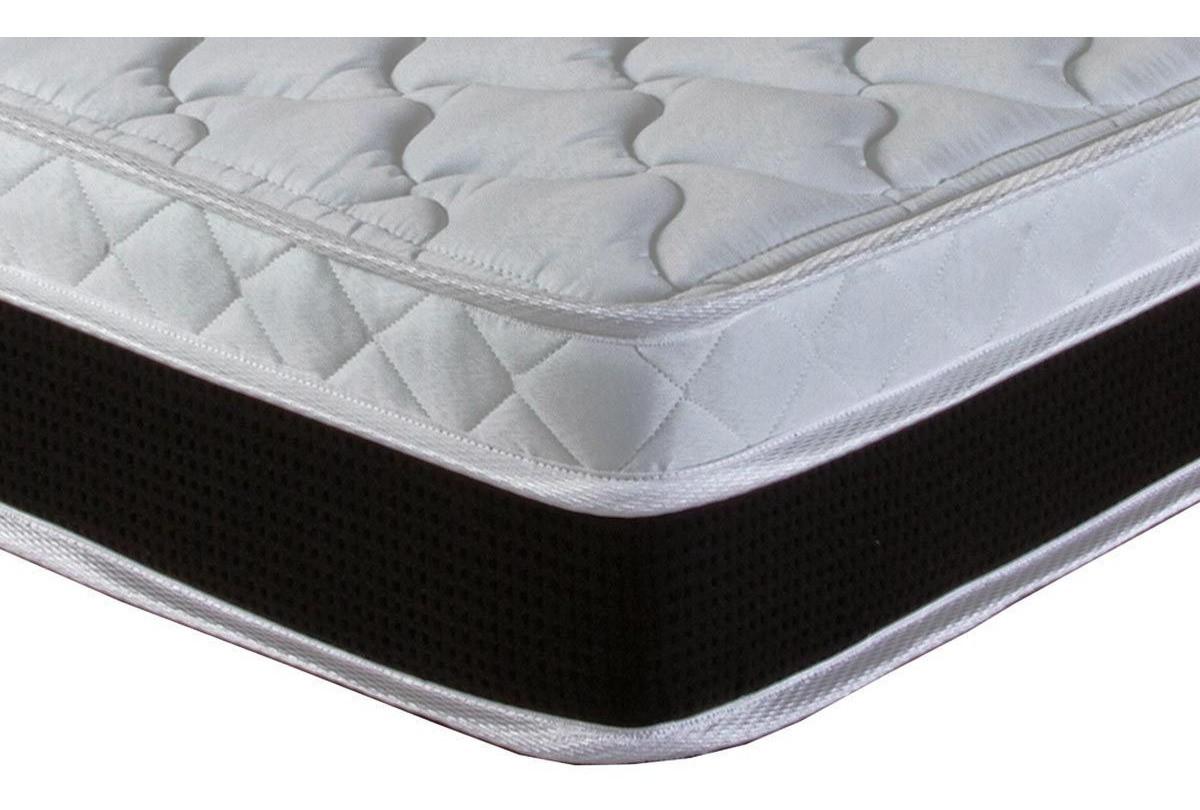 Cama Box Baú Viúva 128X188 Corino Preto + Colchão de Molas Eagle New Pillow