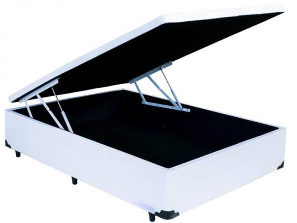 Cama Box Bau Viúva  1,28 x 1,88 x 0,40 Inteiriço Premium Corino Branco
