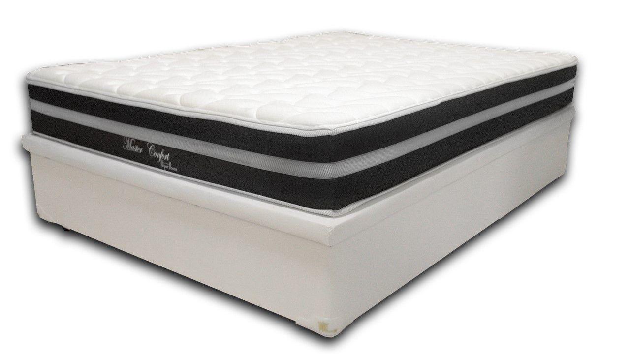 Cama Box Baú Viúva Premium Branco 1,28x1,88 + Colchão de Molas Luxor Black