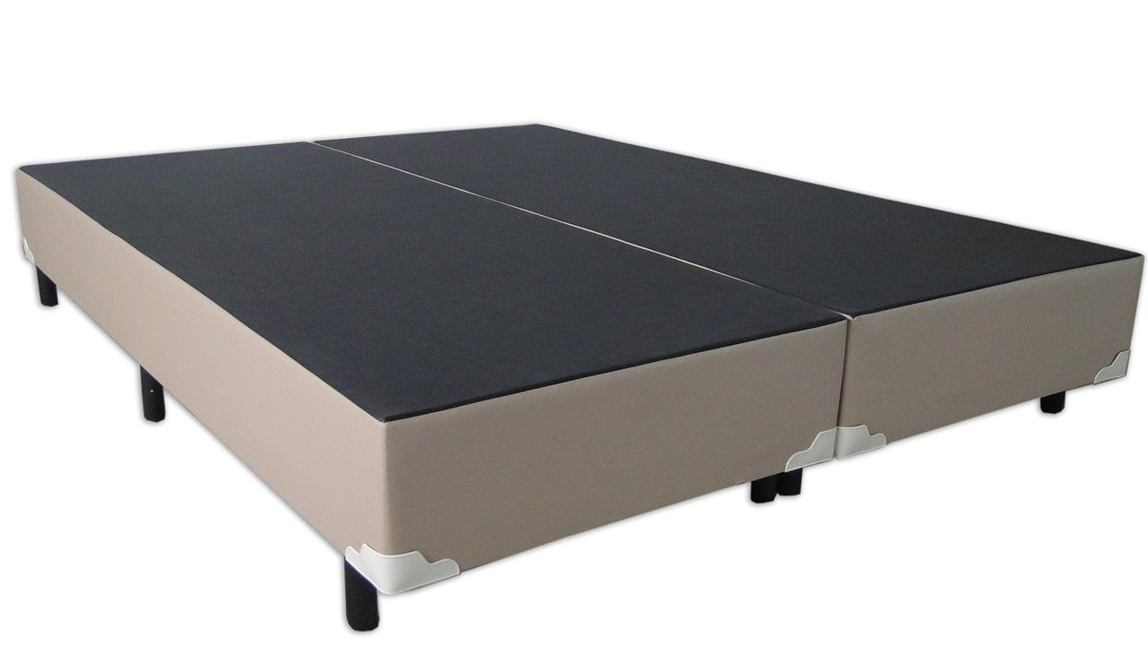 Cama Box Bipartido Premium Corino Bege Casal 1,38 x 1,88 x 0,37