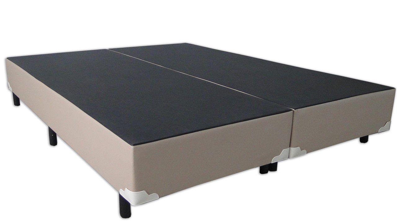 Cama Box Bipartido Premium Corino Bege King 1,93 x 2,03 x 0,37
