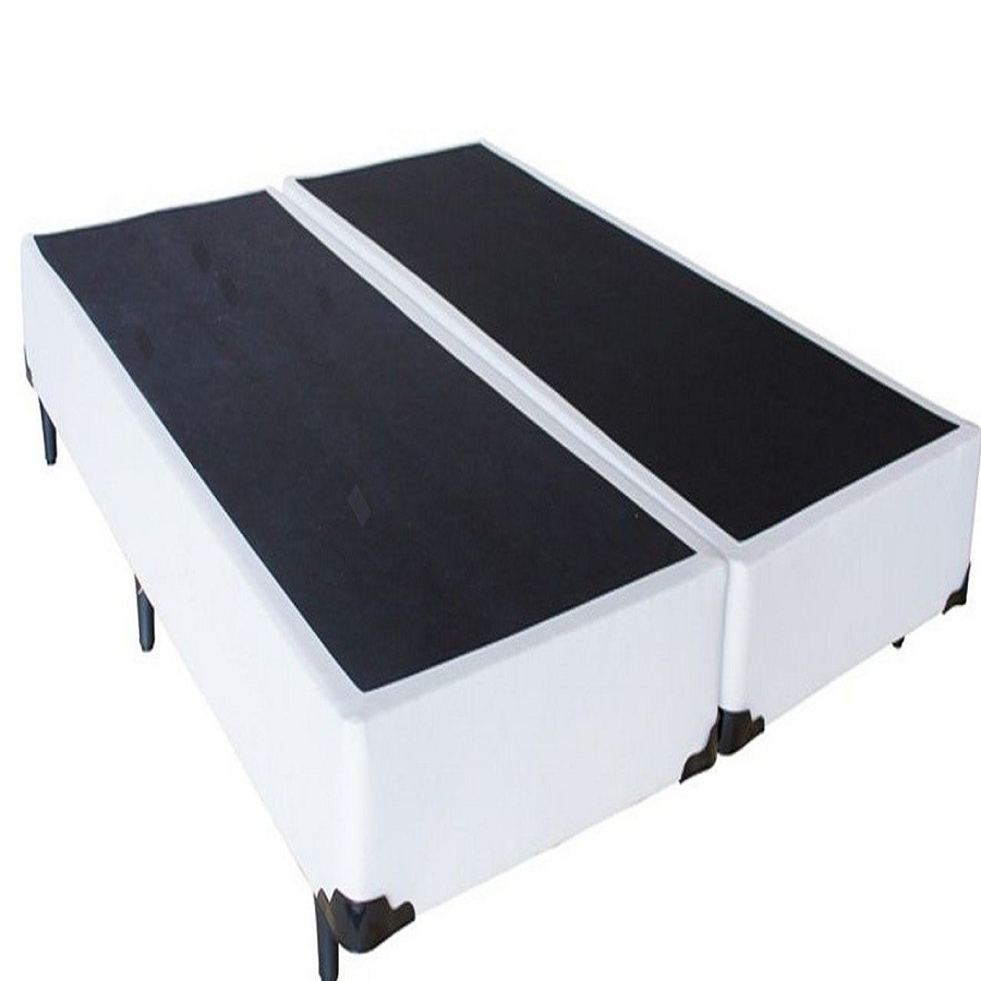 Cama Box Bipartido Premium Corino Branco Casal 1,38 x 1,88 x 0,37