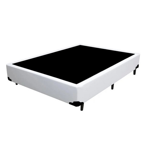 Cama Box Premium Corino Branco Casal 1,38 x 1,88 x 0,37