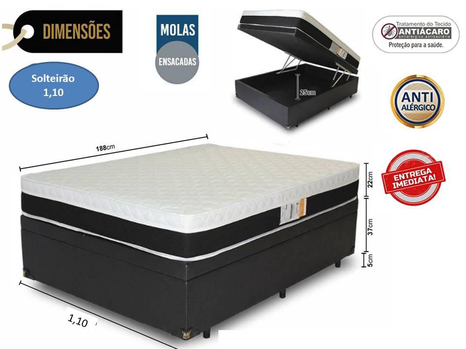 Conjunto Baú - Colchão Molas Luxor Black Plumatex + Cama Baú Solteirão Premium Corino Preto 1,10 x188