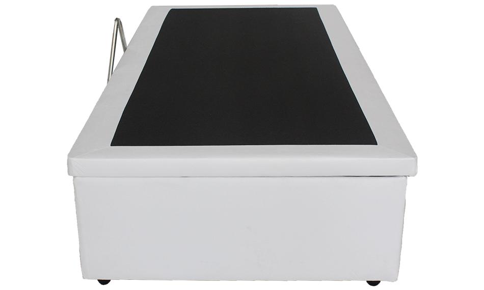 Conjunto Box Baú Solteiro Corino Branco + Colchão  Molas Luxor Black 0,88 x 1,88 x 0,68