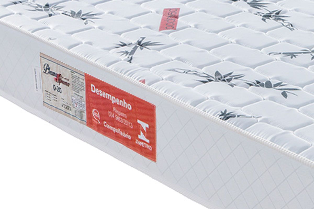 Conjunto Box Baú Premium Solteiro Sued Marrom + Colchão Plumatex de Espuma D20 Pluma Spuma 0,88 x 1,88 x 0,54